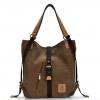 กระเป๋าสะพายข้างผู้หญิงผ้าแคนวาส 2 in 1 สีน้ำตาล