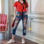 กางเกงยีนส์แฟชั่นทรงเดฟ ผ้ายีนส์เกาหลีฮ่องกง