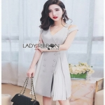 Cut-Out Dress Lady Ribbon ขายเดรสสีเทา