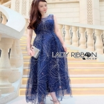 Lady ribbon Joanna Navy Blue Tulle Evening Gown