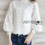 White Lace Blouse Lady Ribbon ขายเสื้อลูกไม้สีขาว