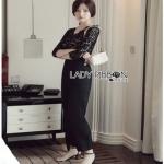 Lady Daphne Sleek Black Lace Jumpsuit จัมป์สูทสีดำ