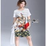 Lady Ribbon Polyester and Chiffon Dress