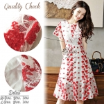 White & Red Gorgeous Lady Flora Dress