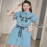 Lady Ribbon Chic Black Flower Denim Shirt Dress