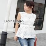 Lady Ribbon White Lace Top with Belt ขายเสื้อแขนกุด