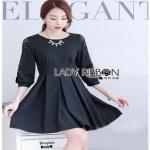 Black Cotton Pleated Dress Lady Ribbon เดรสดำ