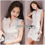 Lady Ribbon Online ขายส่งเสื้อผ้าออนไลน์ Lady Ribbon พร้อมส่ง LR15040816 &#x1F380 Lady Ribbon's Made &#x1F380 Lady Megan Brody Minimal Chic White Drape Peplum Dress