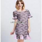 Grey & Pink Lace Dress Lady Ribbon เดรสเทาชมพู