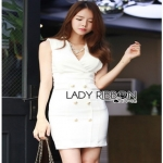 Lady Ribbon Suit Dress ขายสูทเดรสแขนกุด