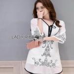 Lady Ribbon Chiffon Dress เดรสปักลาย