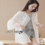 Lady Ribbon Sabrina White Lace Outerwear ขายเสื้อคลุม