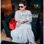 White Lady Ribbon Cotton Dress ขายเดรสผ้าคอตตอน