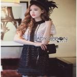 Lace Mix Dress Lady Ribbon เดรสลายเพชร