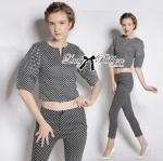 Lady Ribbon Online ขายส่ง เสื้อผ้าออนไลน์ ของแท้ ราคาถูกพร้อมส่ง เลดี้ริบบอน LR02140716 &#x1F380 Lady Ribbon's Made &#x1F380 Lady Clara Polka Dot Zip-Up Jacket and Pants Set สำเนา