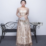 Golden Maxi Dress Lady Ribbon เดรสผ้าทูลเล