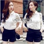 Lady Ribbon Online ขายส่งเสื้อผ้าออนไลน์ Lady Ribbon พร้อมส่ง LR06040816 &#x1F380&#x1F380 Lady Ribbon's Made &#x1F380&#x1F380 Lady Blaire Floral Embroidered Lace Shirt in White