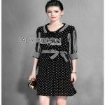 Striped Black & White Dress Lady Ribbon เดรสลายจุด
