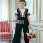 Lady Ribbon Black & White Lace Jumpsuit ขายจัมป์สูทผ้าเครป