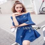 Lady Ribbon Denim Mini Dress ขายมินิเดรส