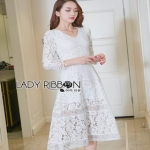 Lady Ribbon Vanessa Classic Feminine White Lace Midi Dress