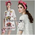 Lady Ribbon Online ขายส่งเสื้อผ้าออนไลน์ Lady Ribbon พร้อมส่ง LR12040816 &#x1F380 Lady Ribbon's Made &#x1F380 Lady Mia Imaginary Tiger Embroidered White Lace Dress