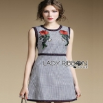 Checked Cotton Dress Lady Ribbon เดรสแขนกุด