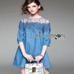 Denim and Lace Lady Ribbon Mini Dress ขายมินิเดรส
