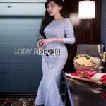 Sweet Lace Dress Lady Ribbon เดรสผ้าลูกไม้