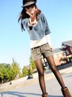 กางเกงแฟชั่นสีเทา ขาสั้นพับปลายขากางเกง ไม่มีเข็มขัด Size M