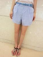 กางเกงแฟชั่นขาสั้นมีซับใน สีฟ้ามีซิปด้านหลังซ่อนซิป พร้อมเข็มชัดตามรูป