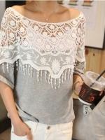 เสื้อยืดแฟชั่นสีเทาแต่งโครเช