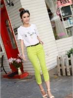 กางเกงยีนส์ยืดแฟชั่น สีเขียวลายจุดขาว มาพร้อมเข็มขัดตามรูป Size M