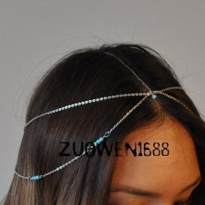 x1427 - Hair Accessories,ที่คาดผม,เครื่องประดับผม,กิ๊ปติดผม,เครื่องประดับ headbands Foreign metal strand turquoise