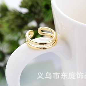 AX2550 - แหวนทอง,แหวน,ทองคำ,เครื่องประดับ Gold-plated high-end boutique fashion lady ring hollow ring opening tail ring
