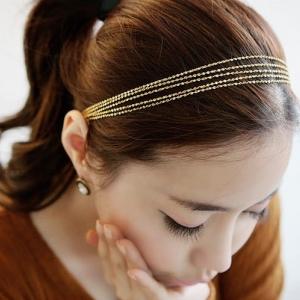 AD1594 - Hair Accessories,ที่คาดผม,เครื่องประดับผม,กิ๊ปติดผม,เครื่องประดับ authentic Korean hair accessories Korean gold tassel multilayer metal chain braided hair band
