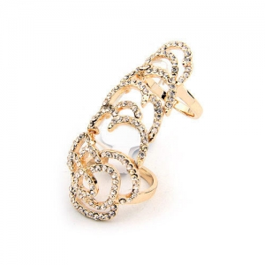 AD1593 - แหวนแฟชั่น,แหวน,แหวนเกาหลี Korean fashion jewelry alloy ring hollow diamond flower double finger ring