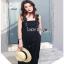 Lady Ribbon Yves Studded Belt-Strap Black Crepe Jumpsuit thumbnail 1