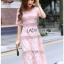 Lady Ribbon Online ขายส่งเสื้อผ้าออนไลน์ Lady Ribbon พร้อมส่ง LR18040816 &#x1F380 Lady Ribbon's Made &#x1F380 Lady Carly Feminine Pinky Striped Lace Maxi Dress เดรสยาวผ้าลูกไม้สี thumbnail 4