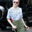 Lady Ribbon Online เสื้อผ้าออนไลน์ขายส่ง Normal Ally เสื้อผ้า NA11150816 &#x1F389Normal Ally Present Pineapple print shirt striped and army tone skirt set&#x1F389 thumbnail 2