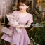 Mini Dress มินิเดรสตกแต่งผ้าพลีตสีชมพู thumbnail 2