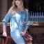 Lady Ribbon Online เสื้อผ้าออนไลน์ขายส่ง lady ribbon เสื้อผ้า LR05150816 &#x1F380 Lady Ribbon's Made &#x1F380 Ashley Summery Off-Shoulder Denim Cotton and Lace Dress เดรสเปิดไหล่ thumbnail 3