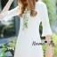 NA10010916 &#x1F389Normal Ally Present White boutique autumn classic dress&#x1F389 (เดรส , มีซับในอย่างดี ,ซิปข้าง) thumbnail 2