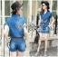 Lady Ribbon Online เสื้อผ้าออนไลน์ ขายส่งของแท้ราคาถููก LR11110716 &#x1F380 Lady Ribbon's Made &#x1F380 Lady Cindy Little Western Cowboy Denim Shirt and Shorts Set with Belt thumbnail 2