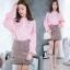 เสื้อผ้าเกาหลี Clionaเสื้อเชิ๊ตคอปิด กระดุมหน้า ขาว/ชมพู/กรม thumbnail 2