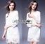 Lady Ribbon Online เสื้อผ้าออนไลน์ ขายส่งของแท้ราคาถููก LR09110716 &#x1F380 Lady Ribbon's Made &#x1F380 Lady Daria Pure Classic White Silk Cotton and Lace Dress thumbnail 3