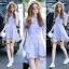 NA11290816 &#x1F389Normal Ally Present blue and white striped decorate southsea white pearl dress&#x1F389 (เดรส , งานแต่งห่วงมุก) thumbnail 1