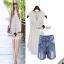 Lace Shorts Sets งานเซ็ทลุคสาวเก๋สบายๆ แบบชิลล์ๆ ตัวเสื้อสวยหวานสไตล์สาวเกาหลี thumbnail 1