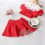 งานนำเข้าเกาหลี เซ็ตเสื้อ+กระโปรงสีแดง thumbnail 5