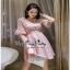 เดรสเกาหลีชุดสีชมพูคอวี thumbnail 3